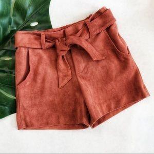 Zara Faux Suede Tie Waist Shorts Size 5